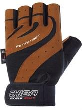 Перчатки для фитнеса CHIBA  (Арт-40160) коричневые - фото 5459
