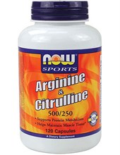 Arginine 500mg & Citrulline 250mg 120 cap (NOW)